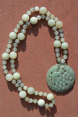 Chinese Chrysoprase NOT JADE Pendant Serpentine Carved Bead Necklace Squirrel