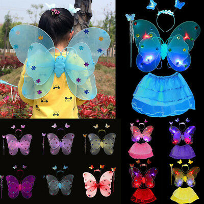 Girls Kids Fairy Wings Butterfly Fancy Dress Up Costume Party Pretend Play Set