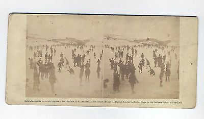 Stereoview Of Skating Scene In Central Park , Nyc, Ca. 1859
