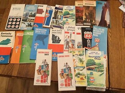 Lot Of 22 Vintage Road Maps 1967-1971 Gas Standard Gulf Enco Phillips 66 Conoco