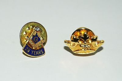 2 Vintage Tie Tack Freemasonry 20 Years Crown  Masonic Fraternity Accessories
