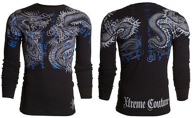 XTREME COUTURE by AFFLICTION Men LONG SLEEVE THERMAL Shirt DOUBLE UP Dragons $58