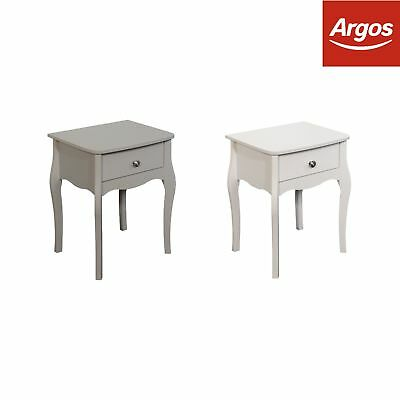 Baroque 1 Drawer Bedside Chest - Choice of Grey / White.