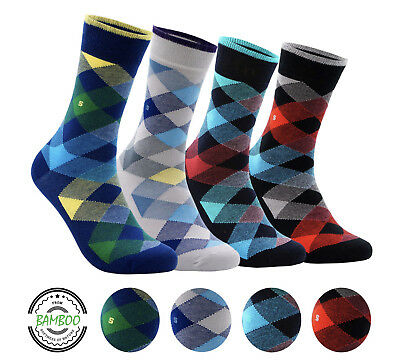 Men's Bamboo 4 Pair Socks - Soft Touch, Scented, Seamless, Antibacterial Organic