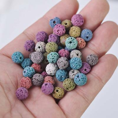 NEW 30pcs 8mm Natural Lava Stone Round Gemstone Loose Spacer Beads Random Mixed