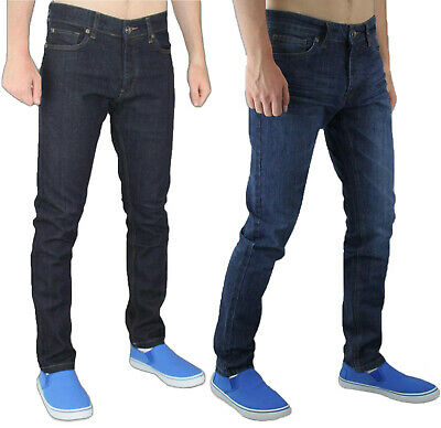 Enzo Skinny Jeans Mens Denim Slim Fit Stretch Cotton Chino Button Trousers Pants