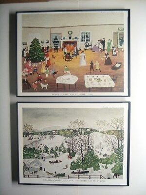 "Lot of (2) Framed 8"" x 6"" Grandma Moses (1860-1961) Christmas art prints 1946"