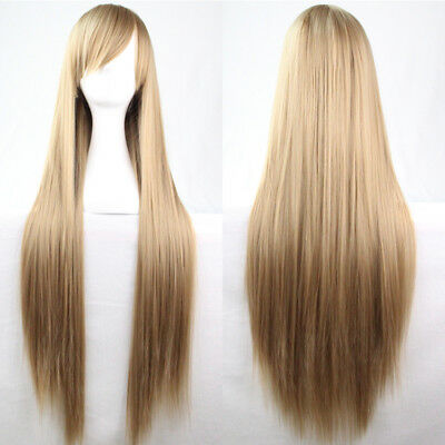 Women 16 Colors Long Straight 100cm Cosplay Wig Heat Resistant Full Wigs