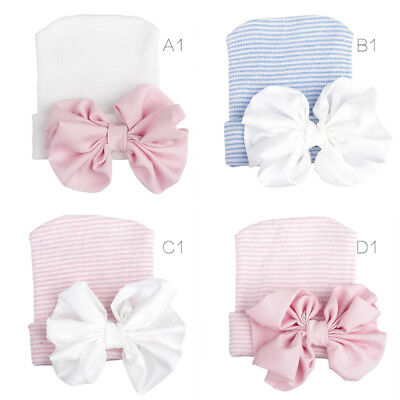 Lovely Baby Girl Infant Striped Soft Hat with Bow Cap Hospital Newborn Beanie