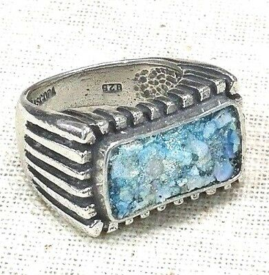 Roman Glass Fragments Ring Silver 925 New Ancient 200 B.C Bluish Patina Israel.