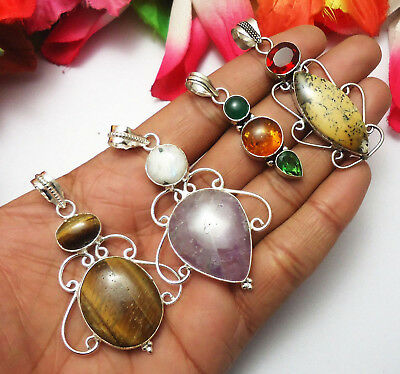 Tiger Eye Amethyst Baltic Amber Garnet Gemstone 4pcs Pendant 925 Silver Plated