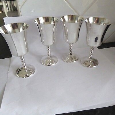 Vintage Silver Plate 4 Goblets Twisted Stems  4.85 Inches Holds 150 Ml Gleaming
