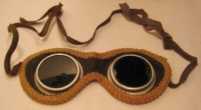 Old Military Goggles Field Gear w/Leather Trim & Green Lens
