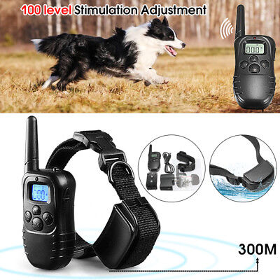 300M Waterproof LCD 100LV Level Shock Vibra Remote 1 Pet Dog Training Collar US