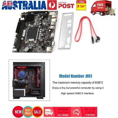 For Intel H61 LGA 1155 16GB DDR3 Motherboard core For generation 2/3 CPU 8USB KN