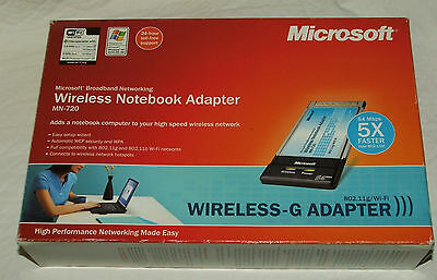 Microsoft Wireless - G Notebook Adapter MN-720 Broadband Networking High Speed