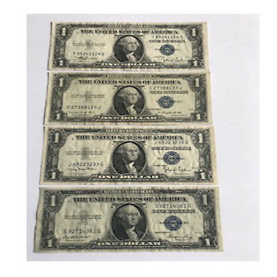 US 1935 SERIES C, D, E, G $1 Silver Certificate Lot of Four (4) Circulated Bills
