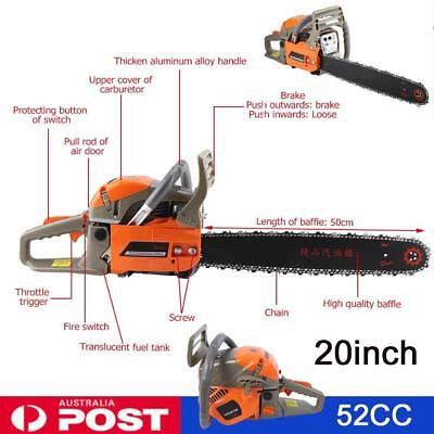 "2200W Cordless Petrol Chainsaw Pruner 52CC 20"" Garden Tree Pruning Chain Saw NEW"