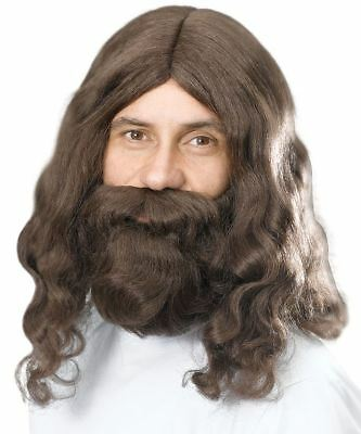 Adult Jesus Wig and Beard Set Mens Religious Fancy Dress Costume Facial Hair New