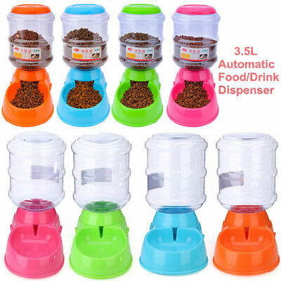 3.5L Automatic Pet Dog Cat Water Food Feeder Bowl Bottle Fountain Dispenser Gift