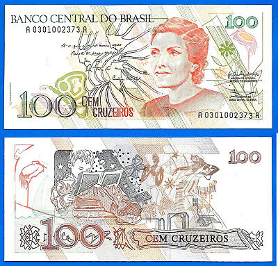 Brazil 100 Cruzeiros 1990 Sign 28 UNC Serie A Brasil Free Ship Worldwide
