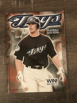 Toronto Blue Jays Playball! Official Game Program Aaron Hill Cover