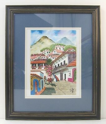 Villager with Burro Vintage Mexican Folk Art Watercolor Painting Signed Romero
