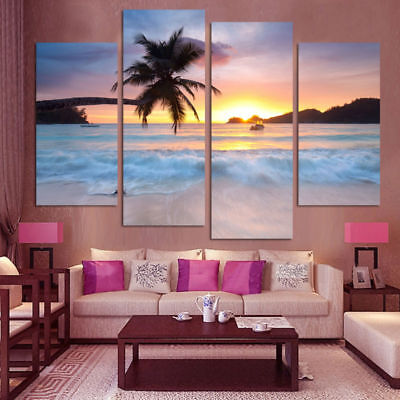 Wall Art Canvas Painting Frame HD Pictures For Room Home Decor 4 Pieces Coconut