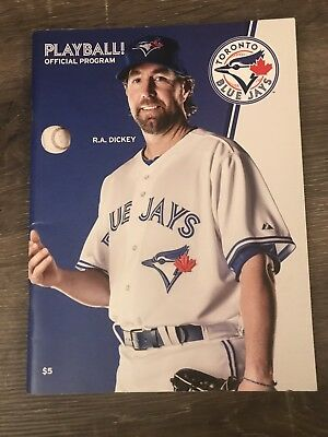 Toronto Blue Jays Playball! Official Game Program 2013 Opening Series RA Dickey