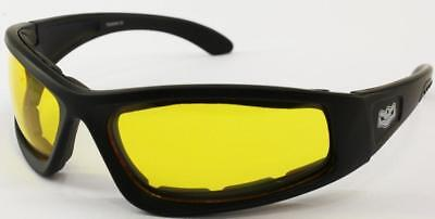 Wide Fit Yellow Shatterproof Lens Sunglasses Goggle Foam Padding Motorcycle