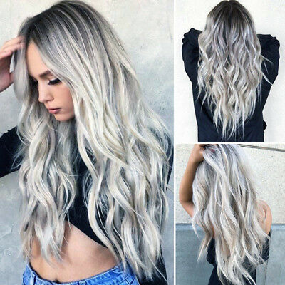 Women Gradient Grey Long Curly Wig Synthetic Wavy Hair Heat Resistant Wig