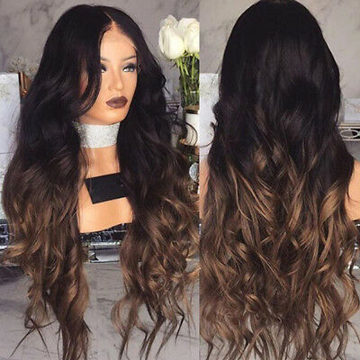 Women Black Blonde Gradient Long Curly Wig Synthetic Wavy Hair Heat Resistant Wi