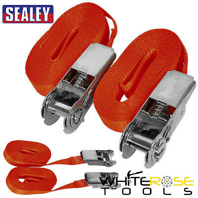 Sealey 2pc 800kg Self-Securing Ratchet Tie Down Cargo Lash 25mm x 4.5m