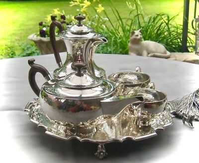 TEESERVICE - 4tlg.- STERLINGSILBER - 'ARTS & CRAFTS' - MAKELLOS -  TOP QUALITY