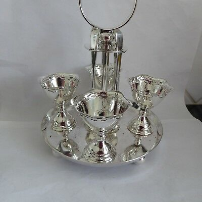 Vintage Silver Plate Egg Cup Cruet On Stand With Spoons Stamped Epns + Maker Mar