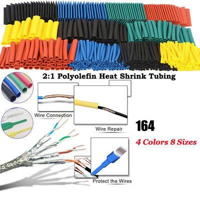 164pcs Set Polyolefin Shrinking Assorted Heat Shrink Tube Wire Cable Insulated S