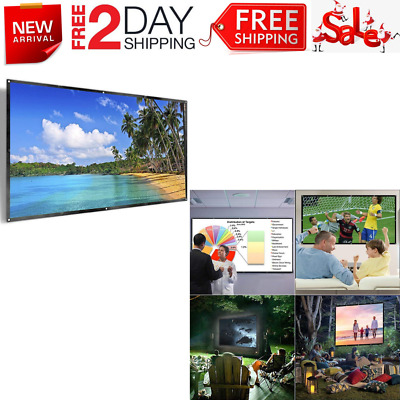 """120"""" Projector Screen HD Foldable Portable Front & Rear Projection Screen New"""