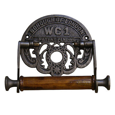 Vintage Toilet Roll Holder Borough of London WC1 Antique Iron and Wood 6""
