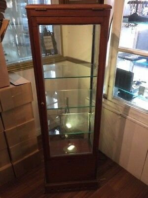 Antique Brass And Wood Illuminated Shop Display Cabinet With Four Glass Shelves