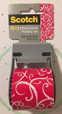 Scotch Expressions Tape (1.88'' x 500'') Red and White Scroll   (New)