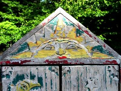 antique PRIMITIVE folk art  MEDICINE CABINET sun moon stars GYPSY carved QUEBEC