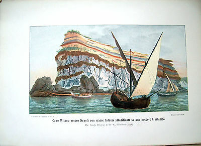 1900 Large Board Colour With View Geological Capo Miseno (Naples)