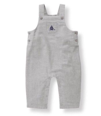 Janie And Jack Gray Sailboat Embroidered Cotton Flannel Overalls Boy 0-3 Months
