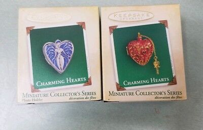Lot 2 Hallmark Miniature Ornament 2004 2005 Charming Hearts-1st & 2nd in Series