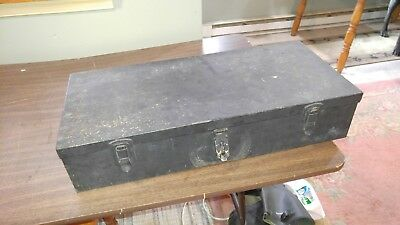 Vintage Heavy Industrial Metal Storage Chest Tool Box Tote Shabby Strong Box