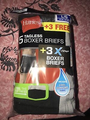 HANES ~ 8 Pair Mens Tagless Boxer Briefs Underwear X-Temp Black Gray ~ L (36-38)