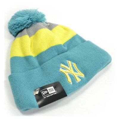 New Era MLB New York Yankees Block Stripe Baseball Bobble Hat (Teal) rrp£20