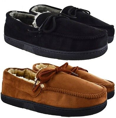 Mens New Gent Warm Fleece Winter Moccasin Flat Hard Sole Slippers Shoes Uk Sizes