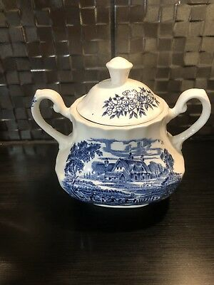 Vintage Ridgeway Blue & White Ironstone Lidded  Sugar Bowl Meadowsweet Pattern