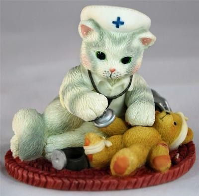 MIB Enesco Calico Kittens YOUR TOUCH HEALS BODY & SOUL NURSE Cat & Teddy Bear